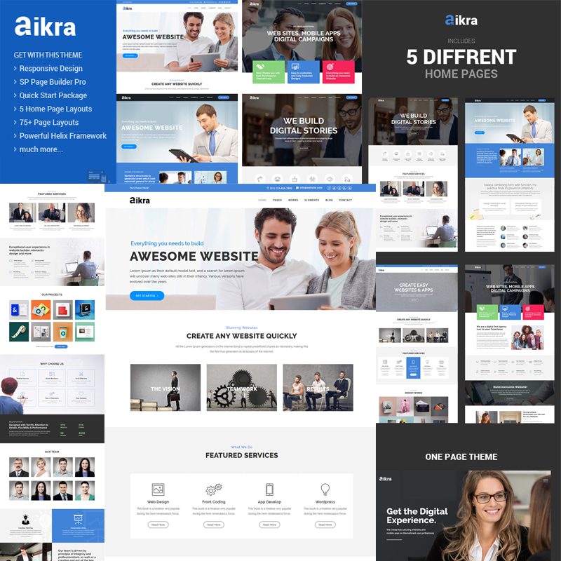 Aikra - Responsive MultiPurpose Joomla Template With Page Builder | Business Joomla Template