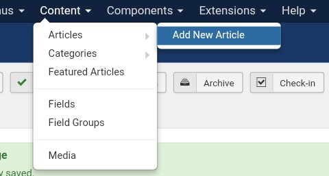 Joomla Content - Add New Article