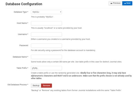 Joomla Web Installer - Database Configuration Stage