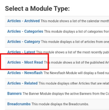 Select Module Type: Article - Most Read