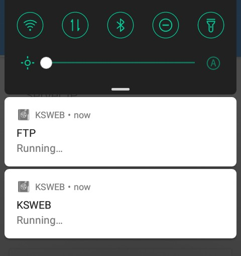 KickWebServer Running in Notifications