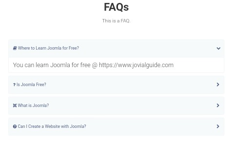 Joomla FAQs Example