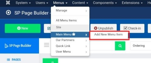 Joomla Add New Main Menu Item