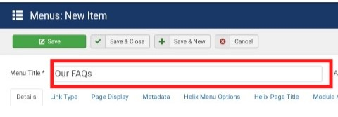 Joomla Add New Main Menu Title