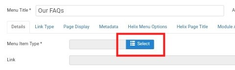 Joomla Select Menu Item Type