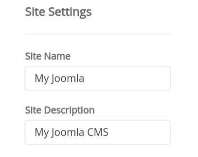 Softaculous Apps Installer - Joomla: Site Settings